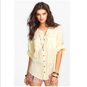 Free People | yellow lace back tunic blouse
